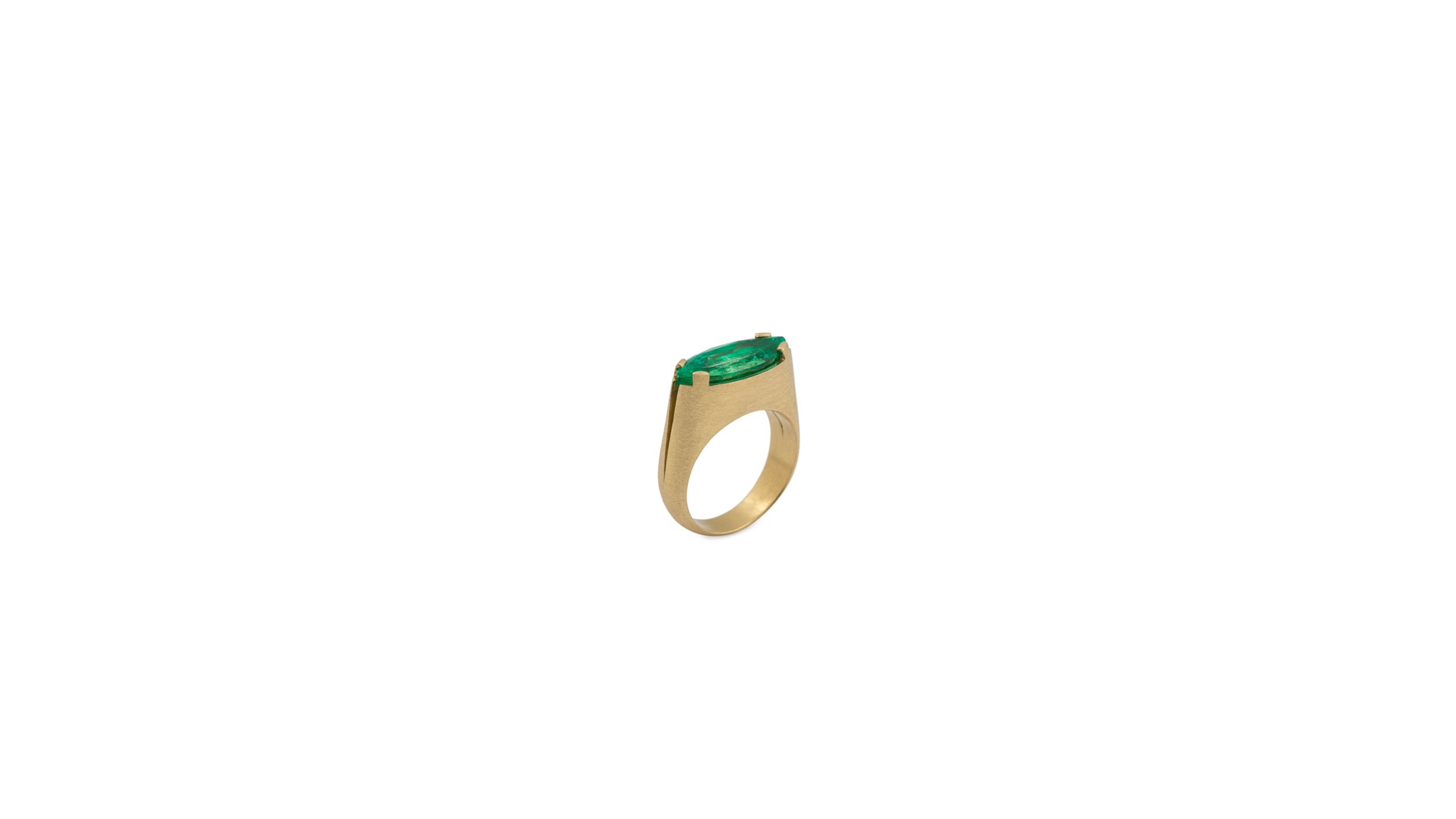 HAND BRUSHED YELLOW GOLD AND MARQUISE NATURAL COLUMBIAN EMERALD